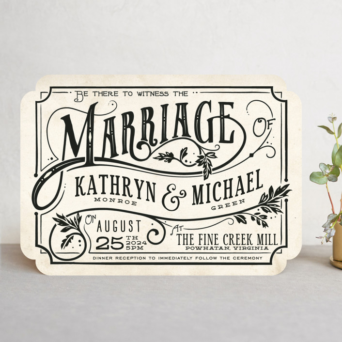 """""""Inked"""" - Hand Drawn, Bold typographic Wedding Invitations in Parchment by GeekInk Design."""