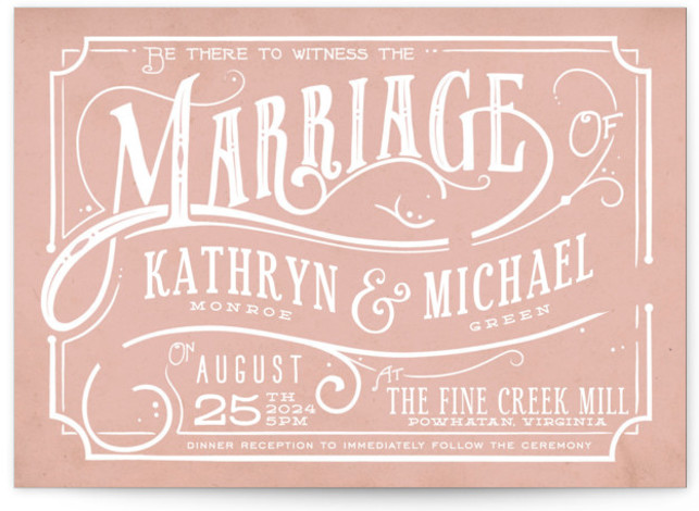 This is a landscape bold typographic, hand drawn, vintage, pink Wedding Invitations by GeekInk Design called Inked with Standard printing on Signature in Classic Flat Card format.
