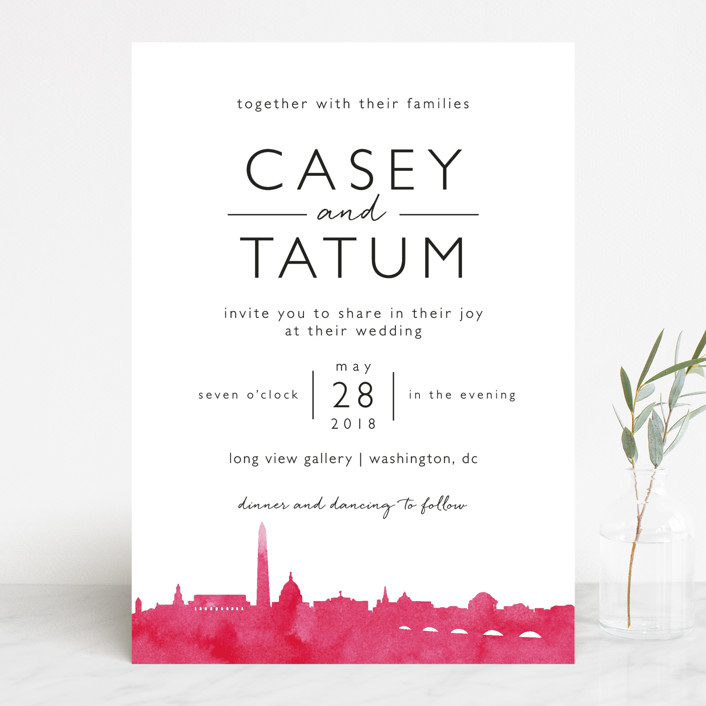 Skyline Washington Dc Modern Wedding Invitations In Magenta By Laura Condouris