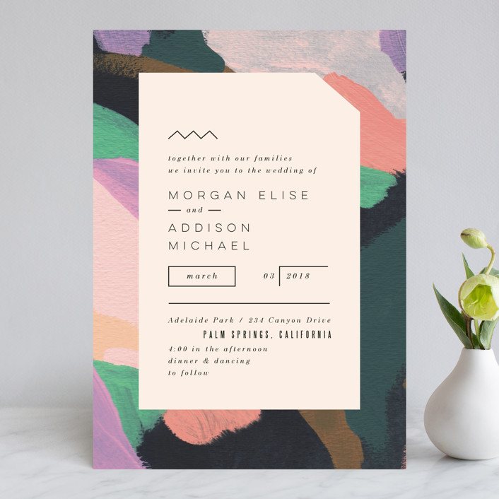 """Adagio"" - Abstract, Modern Wedding Invitations in Lilac by Moglea."