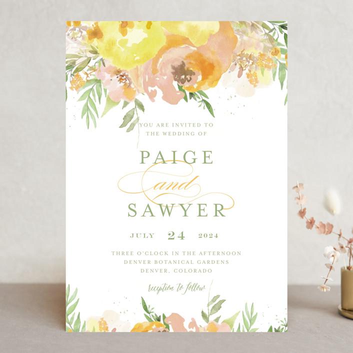 """""""Big Blooms"""" - Wedding Invitations in Dew by Grace Kreinbrink."""