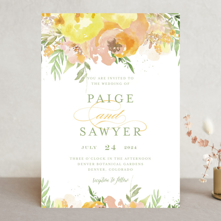 """Big Blooms"" - Wedding Invitations in Dew by Grace Kreinbrink."