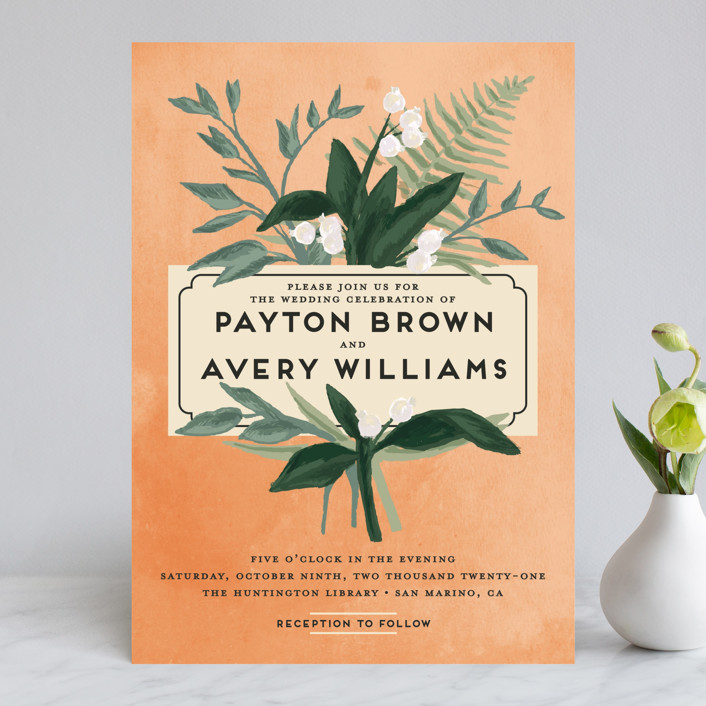"""""""Botanical Name Plate"""" - Wedding Invitations in Sage by Shiny Penny Studio."""