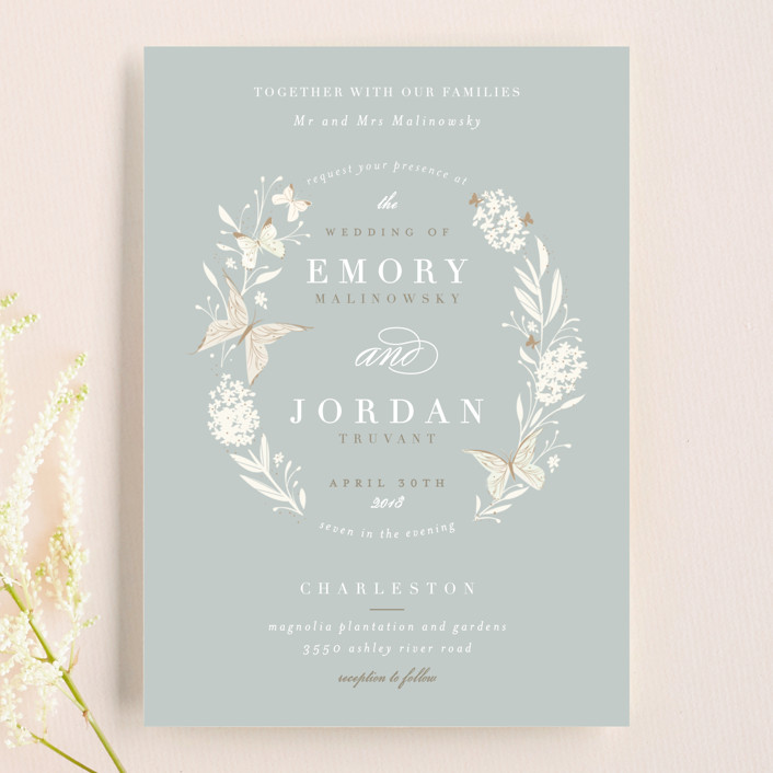 """""""Butterfly Garden"""" - Floral & Botanical, Rustic Wedding Invitations in Bluebird by Lori Wemple."""