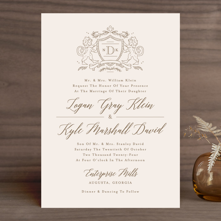 Classic Crest Wedding Invitations by Kristen Smith | Minted