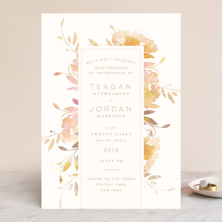 """Garden"" - Wedding Invitations in Peach by Lori Wemple."