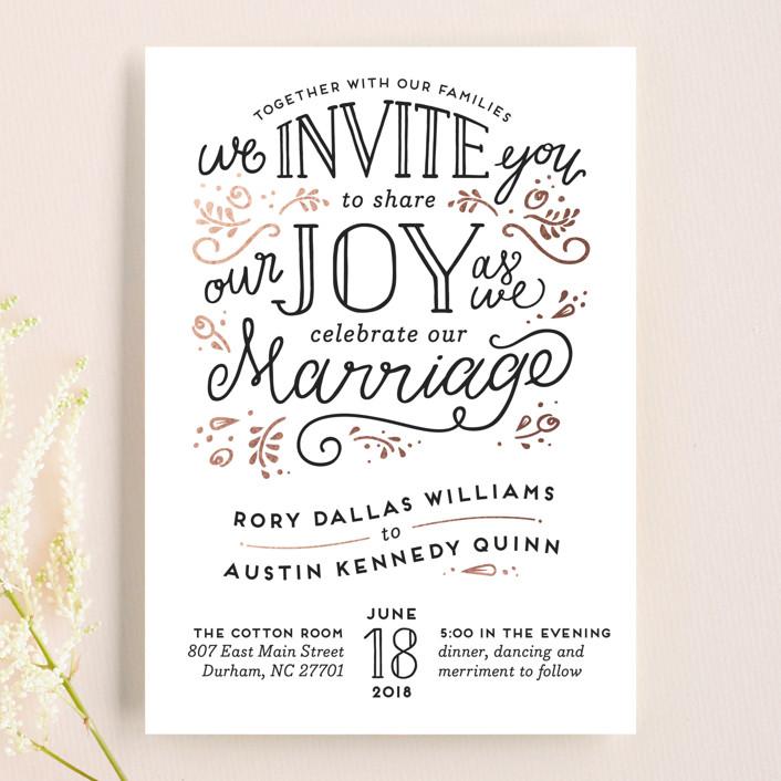 """Joyful"" - Bold typographic, Hand Drawn Wedding Invitations in Rose Quartz by Pink House Press."