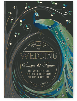 Nouveau Leaves And Feathers Wedding Invitations