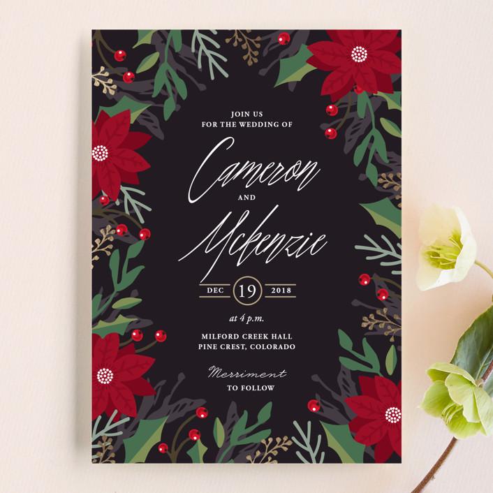 """""""Poinsettia Garden"""" - Wedding Invitations in Onyx by Oma N. Ramkhelawan."""