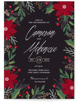 Poinsettia Garden Wedding Invitations