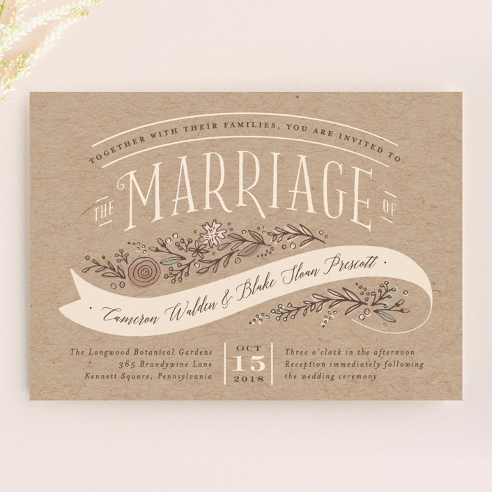 Rustic Banner Wedding Invitations by Jennifer Wick | Minted