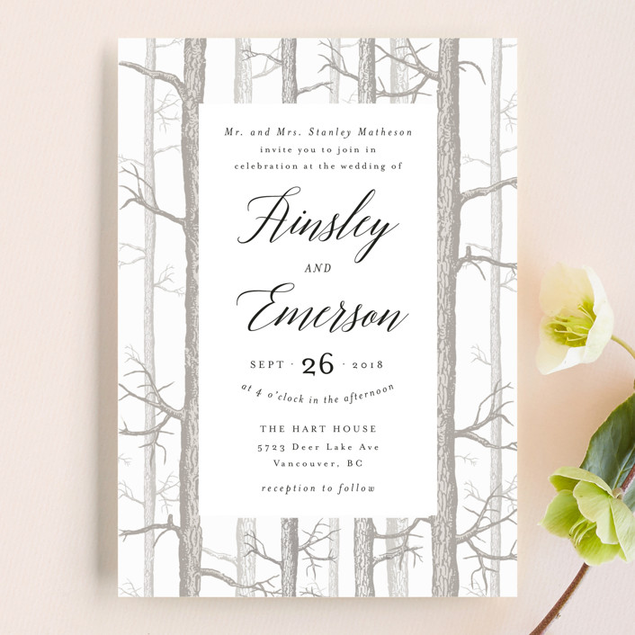 Winter Birch Wedding Invitations by Kelly Schmidt | Minted