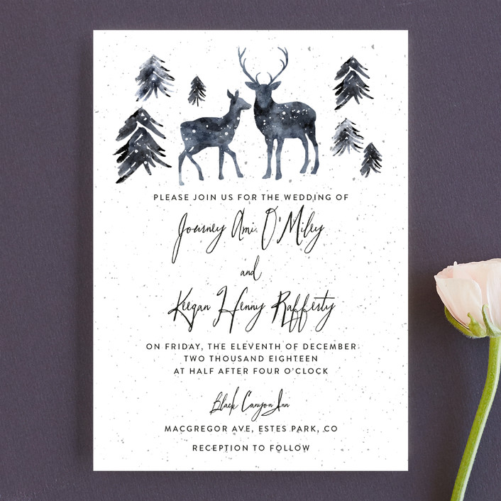 winter deer rustic wedding invitations in ice mist by cass - Deer Wedding Invitations