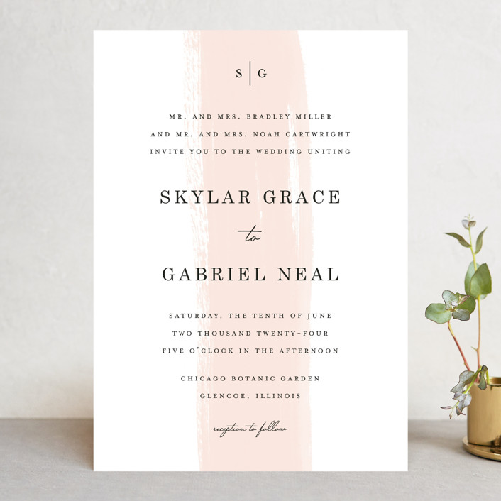 """Single Swath"" - Wedding Invitations in Blush by Angela Marzuki."