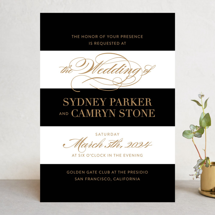 """Fashion District"" - Wedding Invitations in Black Tie by Jill Means."