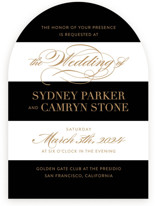 This is a black and white wedding invitation by Jill Means called Fashion District with standard printing on signature in standard.