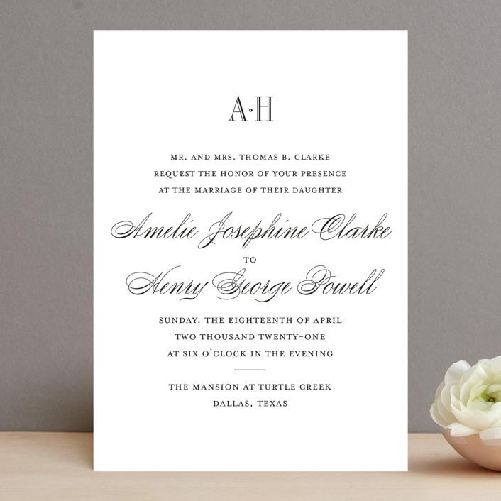 """Hepburn"" - Elegant, Classical Wedding Invitations in Tuxedo by Toast & Laurel."