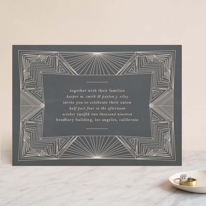 """Art Deco Frame"" - Wedding Invitations in Coal by Caitlin Mac."