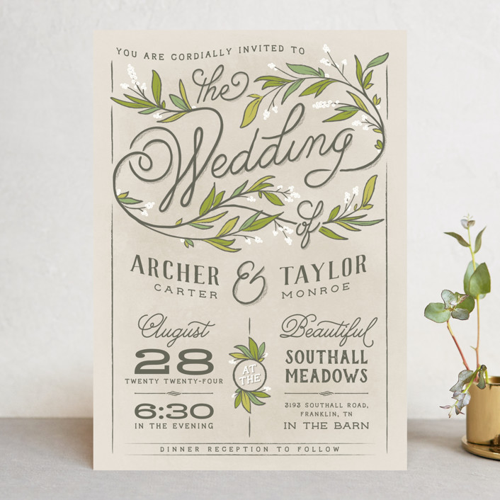 """Rustic Love"" - Wedding Invitations in Parchment by GeekInk Design."