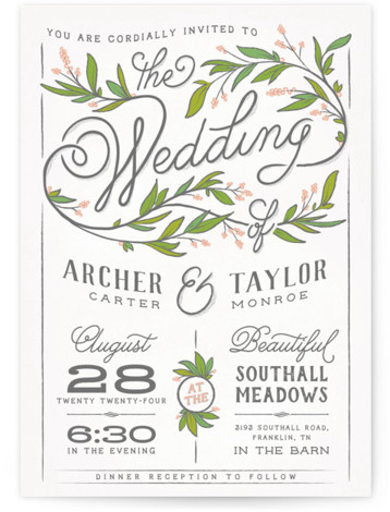 This is a portrait white, pink, green Wedding Invitations by GeekInk Design called Rustic Love with Standard printing on Signature in Classic Flat Card format. A rustic styled wedding invite featuring a beautiful script font with leaf and branch details. ...