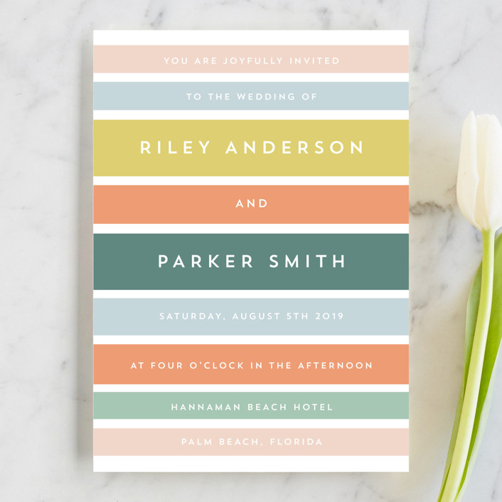 """Beach Stripe"" - Wedding Invitations in Popsicle by Katharine Watson."