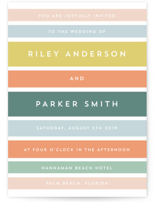 Beach Stripe Wedding Invitations
