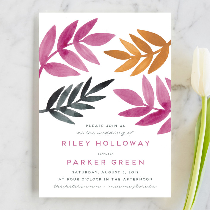"""Bright Leaves"" - Wedding Invitations in Fuschia by Katharine Watson."