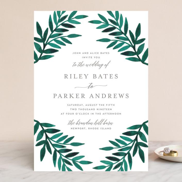 """Painted Greenery"" - Wedding Invitations in Evergreen by Katharine Watson."