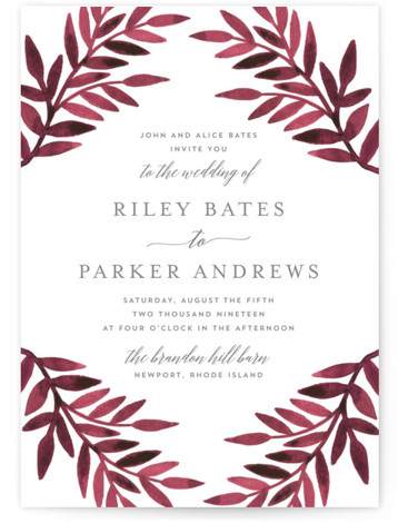 This is a portrait red Wedding Invitations by Katharine Watson called Painted Greenery with Standard printing on Signature in Classic Flat Card format. This design uses a watercolor botanical border to create a rustic, unique wedding invitation.