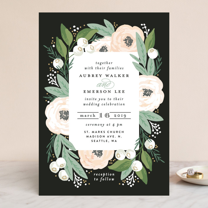 """Blooming Bouquet"" - Wedding Invitations in Charcoal by Alethea and Ruth."
