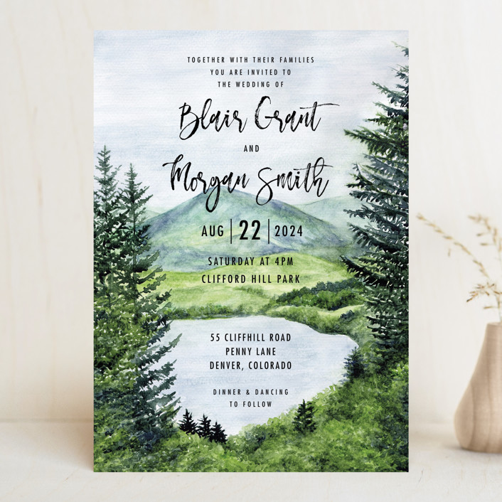 Into the Woods Wedding Invitations by Elly Minted