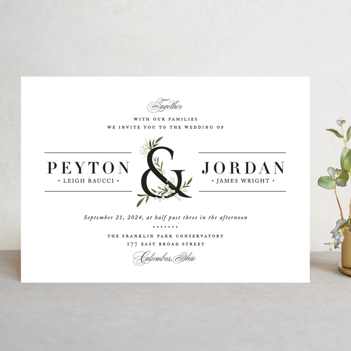 """Adorned Ampersand"" - Wedding Invitations in Cotton by Jennifer Postorino."