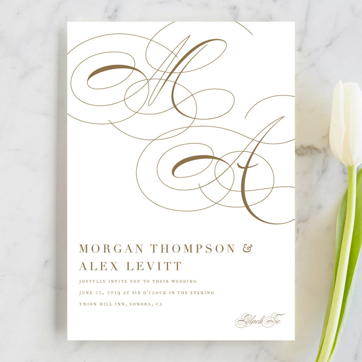 """Aqueous"" - Wedding Invitations in Antique Gold by Jennifer Postorino."