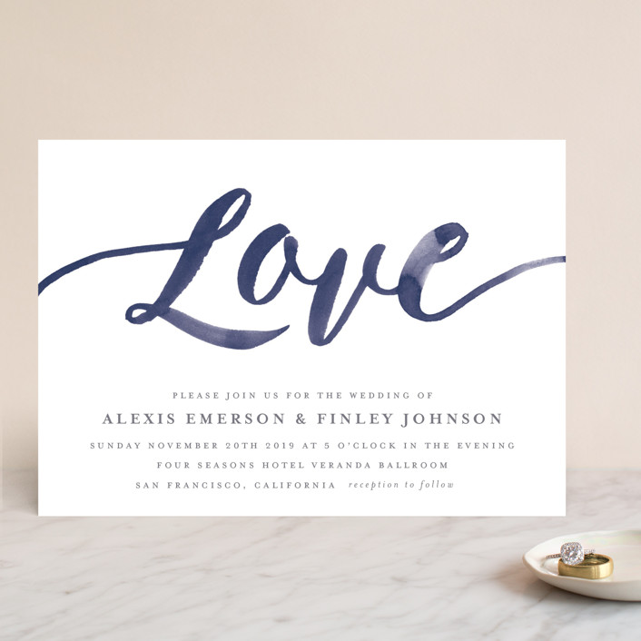"""Love"" - Wedding Invitations in Navy by Four Wet Feet Studio."