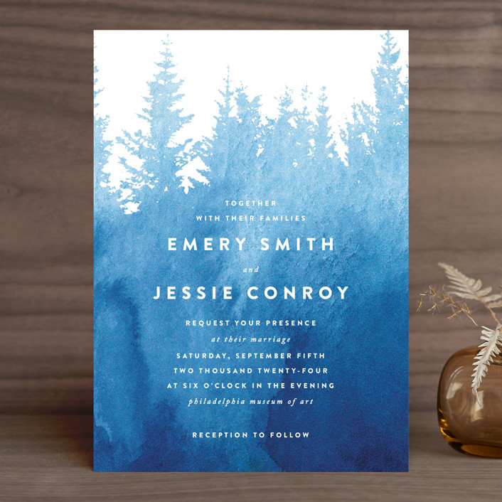 """misty forest"" - Rustic Wedding Invitations in Navy by Ariel Rutland."