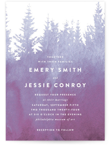 This is a portrait illustrative, painterly, rustic, purple Wedding Invitations by Ariel Rutland called misty forest with Standard printing on Signature in Classic Flat Card format. Inspired by a misty morning above the treetops