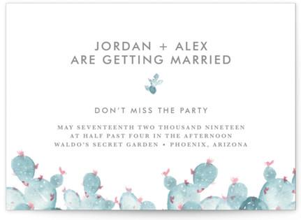 simple cactus watercolor Wedding Invitations