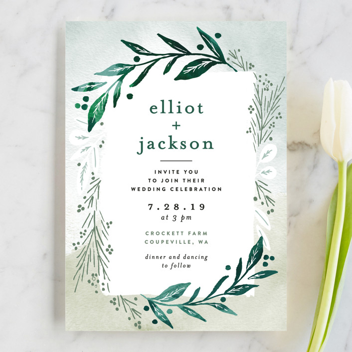 """Dip dyed foliage"" - Wedding Invitations in Fresh Green by Alethea and Ruth."