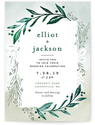 Dip Dyed Foliage Wedding Invitations