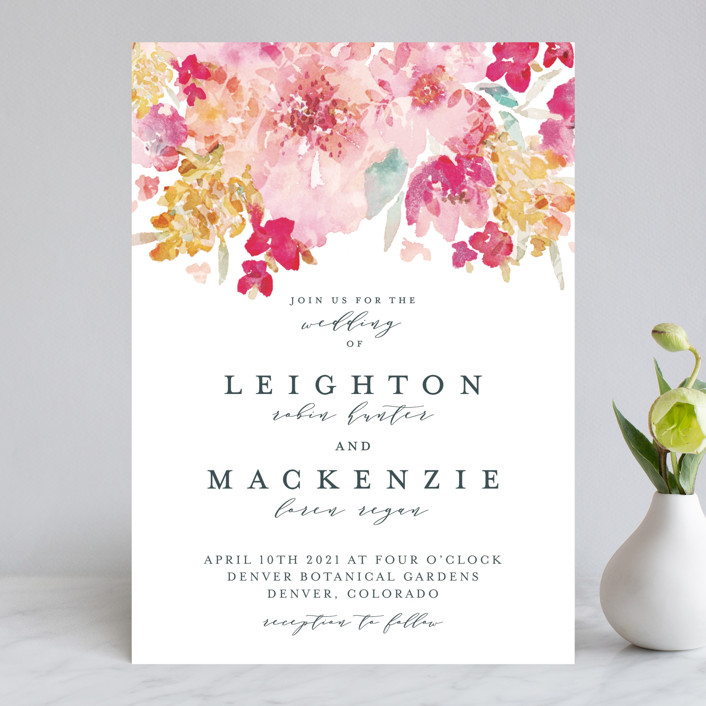 """Spring Garden"" - Wedding Invitations in Petal by Grace Kreinbrink."