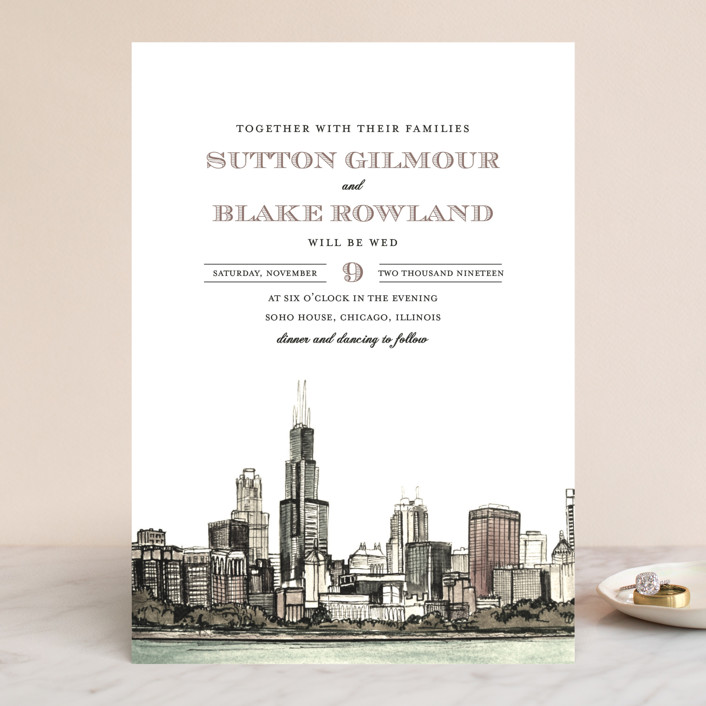 """Windy City"" - Wedding Invitations in Antique by Ashley Turner."