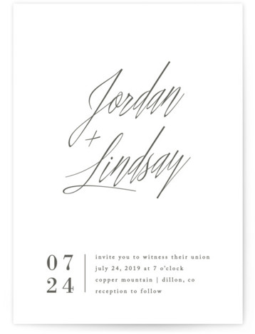 This is a portrait white Wedding Invitations by Amy Kross called Stacked date with Standard printing on Signature in Classic Flat Card format. This modern design features a bold script and contemporary layout perfect for the non traditional couple