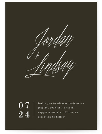 This is a portrait black Wedding Invitations by Amy Kross called Stacked date with Standard printing on Signature in Classic Flat Card format. This modern design features a bold script and contemporary layout perfect for the non traditional couple