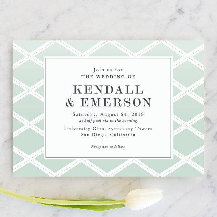 """Bold Lattice"" - Wedding Invitations in Mint by Griffinbell Paper Co.."