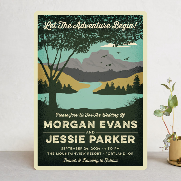 """""""Mountain View"""" - Wedding Invitations in Forest by Nam Bourassa."""