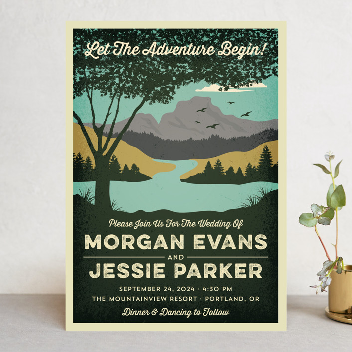 """Mountain View"" - Wedding Invitations in Forest by Coco and Ellie Design."