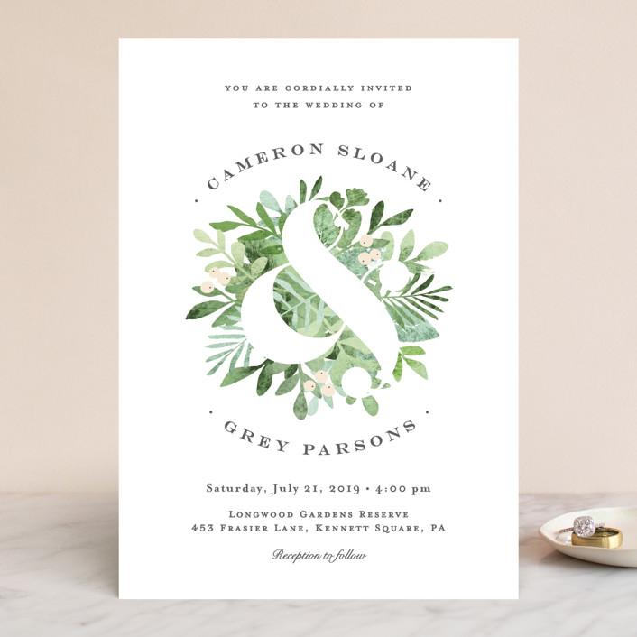 leafy ampersand wedding invitations in mint leaf by jennifer wick - Minted Wedding Invites