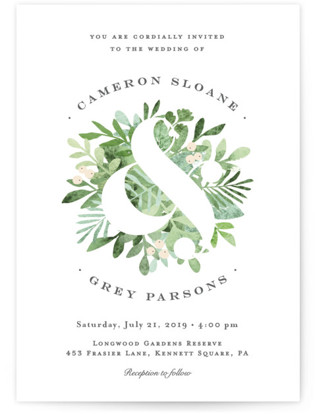 Leafy ampersand Wedding Invitations