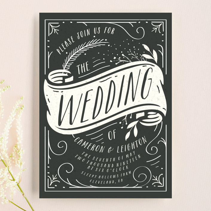 """Vintage Banner"" - Wedding Invitations in Tuxedo by Hannah Williams."