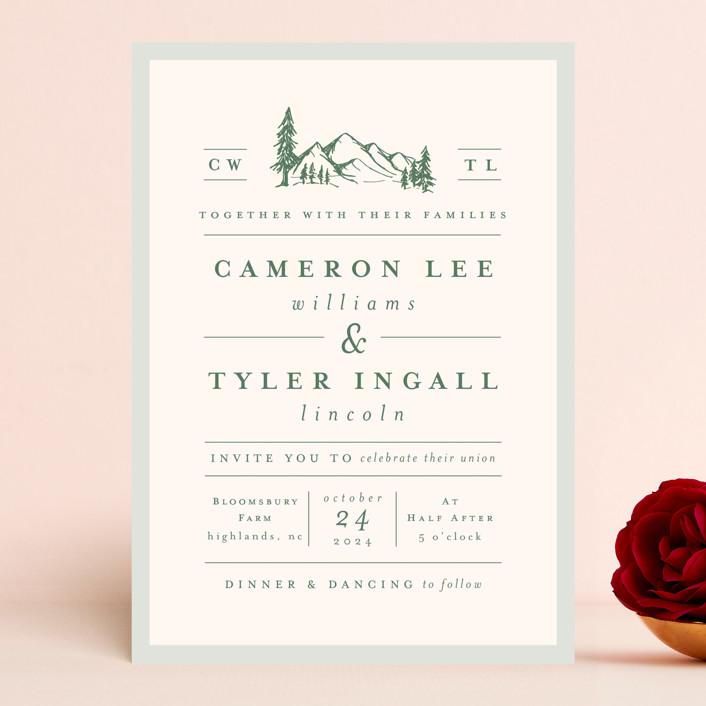"""Blue Ridge"" - Wedding Invitations in Pine by Amy Kross."